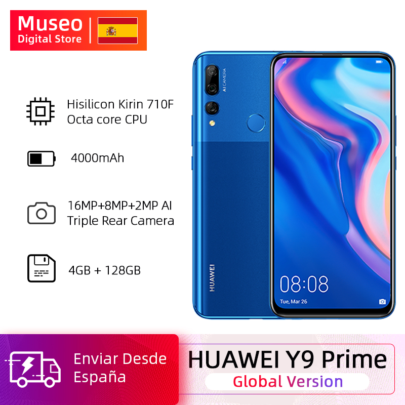"""Global Version Huawei Y9 Prime 2019 Smartphone AI Triple Rear Cameras 4GB128GB Auto Pop Up Front Camera 6.59"""" Cellphone"""