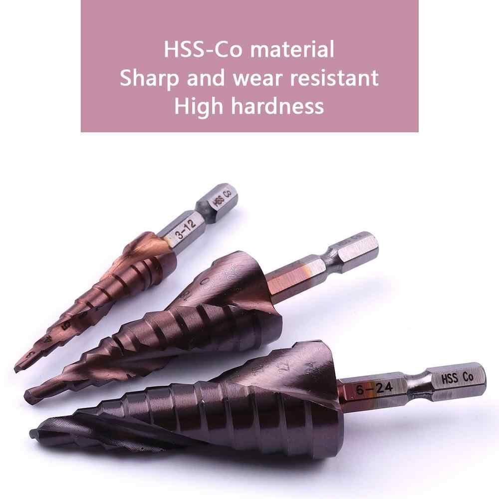 "1PCS HSS שיתוף 3-12mm 4-22mm 6-24mm חריץ ספירלה 1/4"" hex ידית צעד Dril קצת חור חותך קונוס מסור יצא תרגיל כוח כלים"