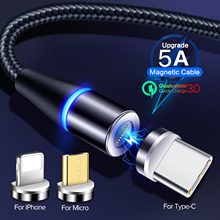 5A Magnetic Charging Cable Quick Charge 3.0 Micro USB Charger Type C  for IPhone XR MAX Samsung S9 Magnet Phone Cord