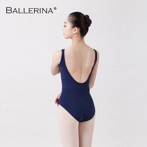 Image 2 - Collant de balé feminino dancewear treinamento profissional ginástica impressão digital aberto volta sexy collant bailarina 2507