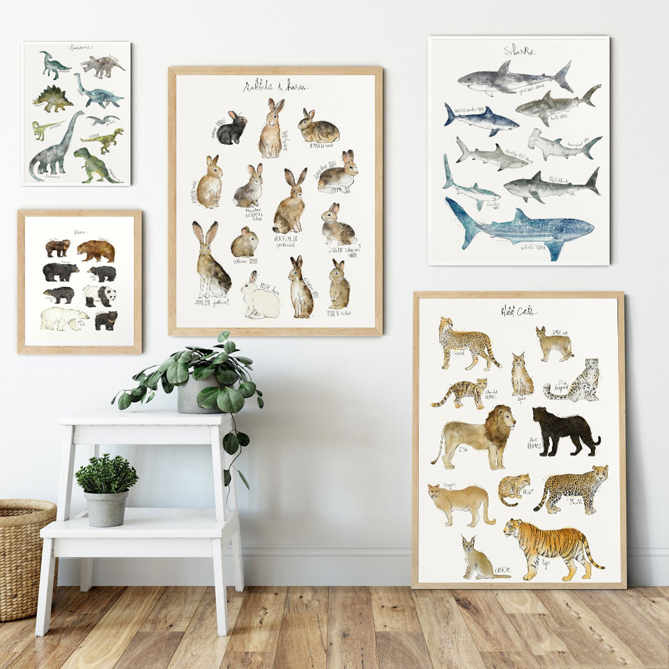 Wall Art Canvas Painting Wall Pictures Dinosaur Rabbits Sharks Animal Art Prints Modular Nordic Poster Home Baby Kids Room Decor