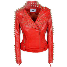 Faux leather PU Jacket Punk Rivet Women fashion Winter Autumn Motorcycle Jacket Black Coat Outerwear Punk  New Grunge Style 2XL punk style tiered cone rivet and faux leather beads bracelet for women