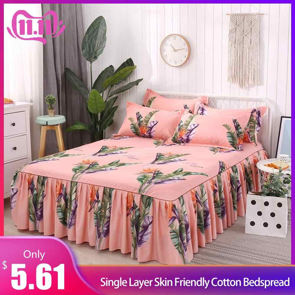 Bed Skirt Queen Size Single-Layer Skin-Friendly Cotton Bedspread 3PC/Set 1 Bedspread 2 Pillowcases Rainforest Series 1.5*2M #4O