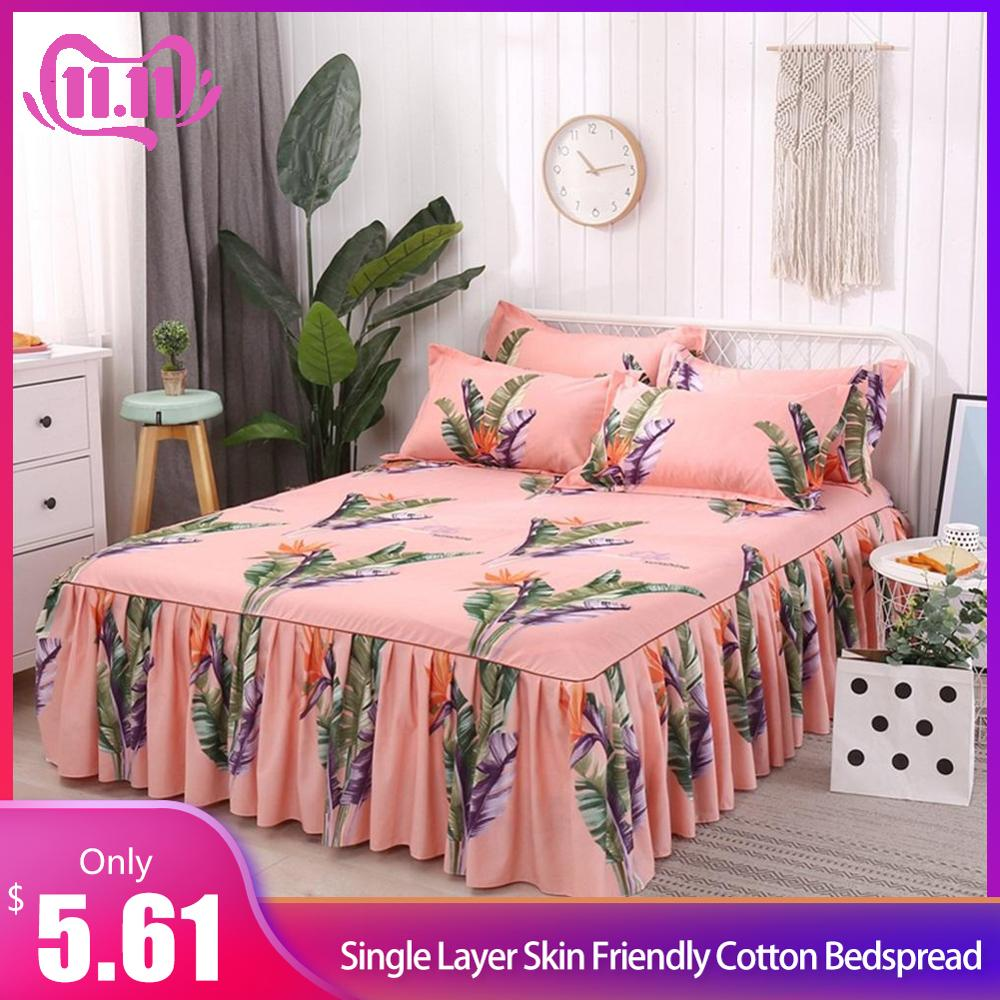 Bed Skirt Queen Size Single Layer Skin Friendly Cotton Bedspread 3PC/Set 1 Bedspread 2 Pillowcases Rainforest Series 1.5*2M #4O|Bedding Sets| |  - title=