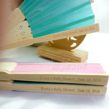 21cm Personalized Customized Silk Wedding-Gift Hand Fan with Organza Gift Bags 50pcs/lot