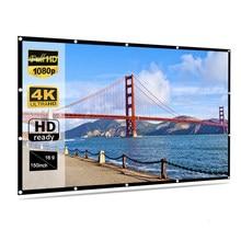 Taşınabilir HD yumuşak projeksiyon perdesi mat beyaz 16:9 projeksiyon perdesi film kumaş 60 72 84 92 100 120 150 inç ev tiyatro