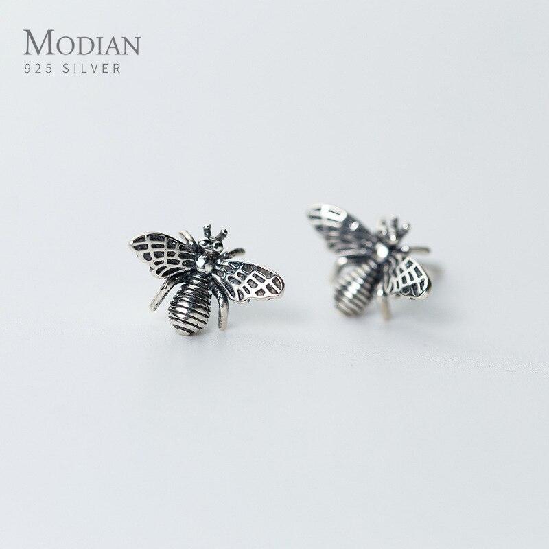 Женские серьги гвоздики Modian, винтажные серьги гвоздики в виде пчелы из стерлингового серебра 925 пробы Серьги-гвоздики      АлиЭкспресс