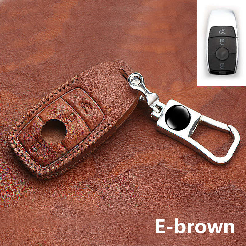 Leather Key Fob Holder Case Chain Cover FIT For Mercedes-BENZ 2017 E-CLASS w213