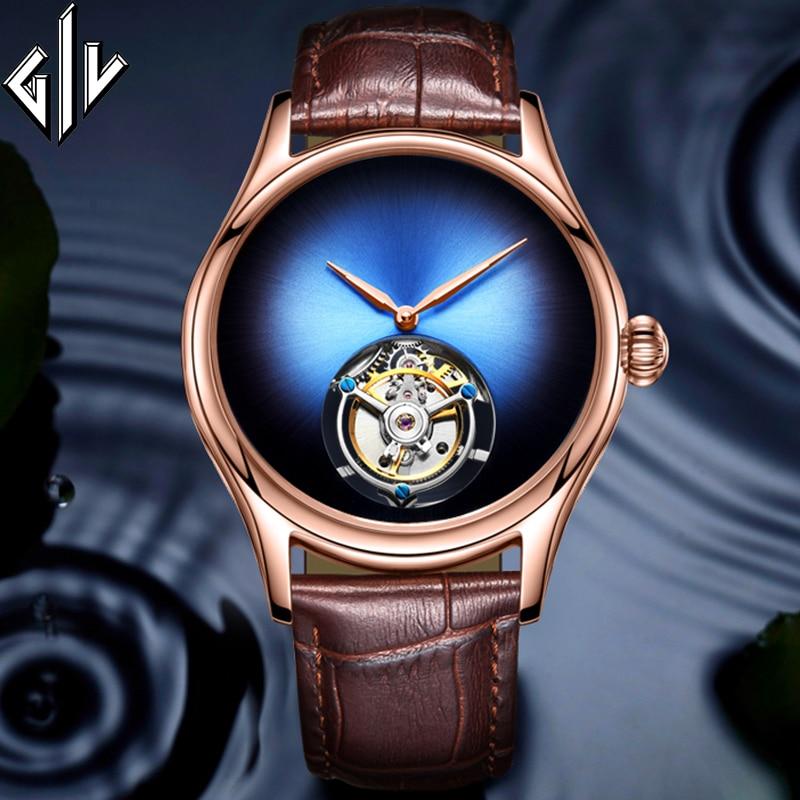 GIV Tourbillon Men Watch Top Brand Luxury Skeleton Movement Design Sapphire Mechanical Hand Wind Watch Relogio Masculino