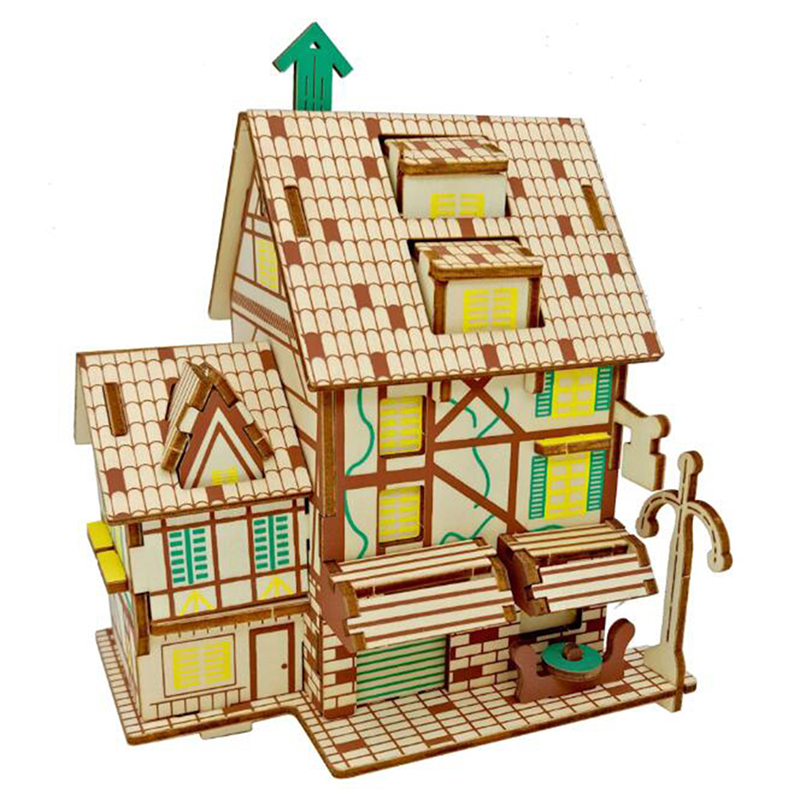 <font><b>Creative</b></font> <font><b>DIY</b></font> Wood Craft Assembly Movie <font><b>Wooden</b></font> <font><b>3D</b></font> <font><b>Puzzle</b></font> House <font><b>Model</b></font> <font><b>Toy</b></font> Kids Teens Adult <font><b>DIY</b></font> Assembled <font><b>Puzzle</b></font> Developing Game image