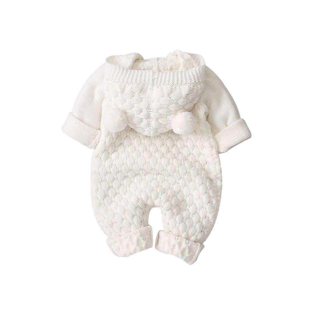 SAGACE תינוק Romper תוספות חורף תינוקת ילד לסרוג סלעית להאריך ימים יותר סרבל יילוד תינוקות Soild מזדמן כפתור Romper פעוט סט