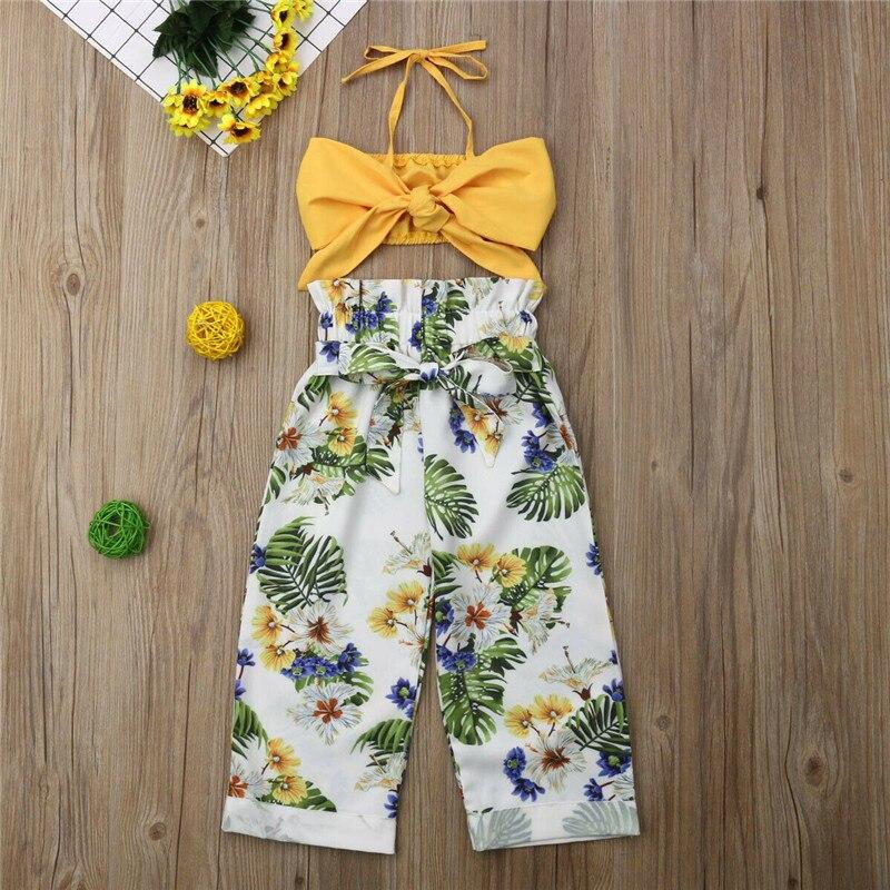 Топы с цветочным рисунком для маленьких девочек + штаны, жилет От 1 до 5 лет Одежда для маленьких девочек летний комплект из 2 предметов на