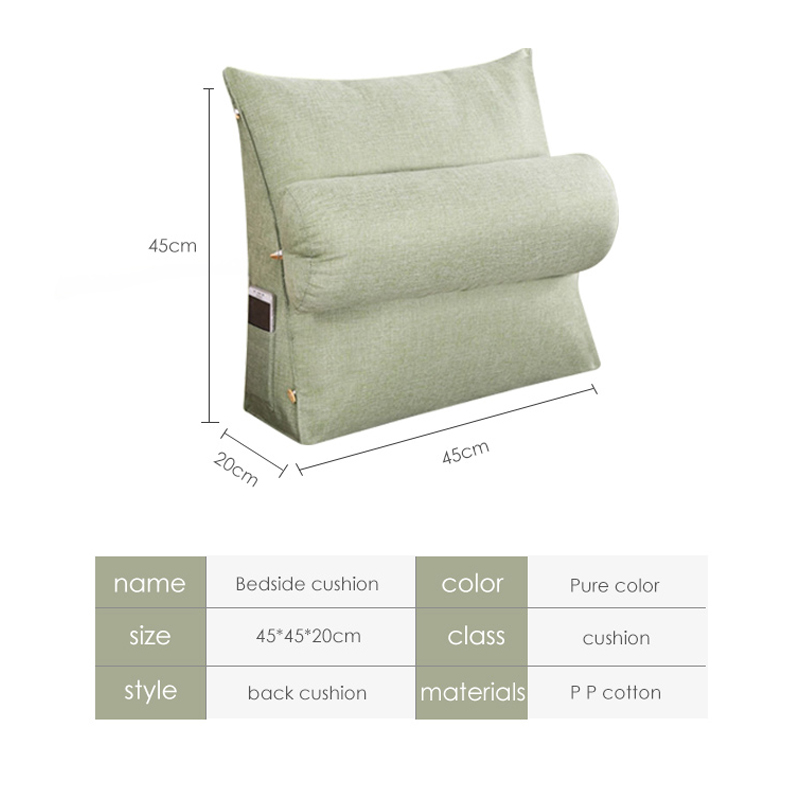 AAG Bed Couch Chair Triangular Backrest Pillow big wedge back support Cushions Cotton Linen bedside Lounger TV Reading Pillows in Cushion from Home Garden