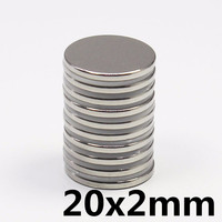 50/100/200 pcs Round Thin slice NdFeB Magnet 20x2mm N35 Strong Neodymium Magnet 20x2mm Round Rare Earth Permanet Magnets 20*2mm