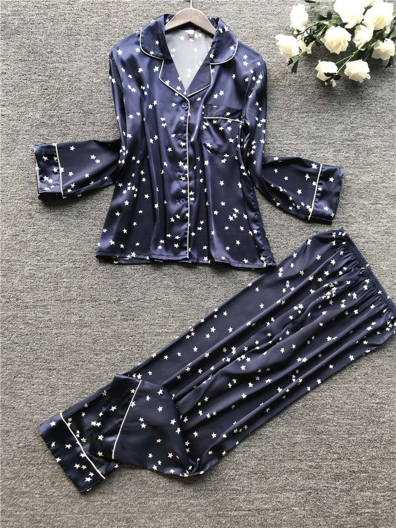 Satin Pyjamas Women Pajamas Sets With Pants Print Long Sleeve Silk Sleepwear Pijama Mujer Female Night Suit