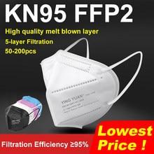 50-200 peças 5 camadas máscara facial reutilizável ffp2 n95 respirador filtro mascarillas adulto máscaras protetoras à prova de poeira fpp2 kn95