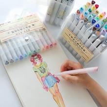 מעולה פעמיים בראשות סימן עט סט אספקת אמנות צבעוני עמיד למים עט מברשת עט ציור סמני צבעוני עמיד למים עט