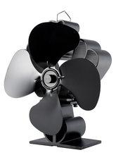 Распродажа Черный вентилятор печи 4 лезвия Вентилятор для камина