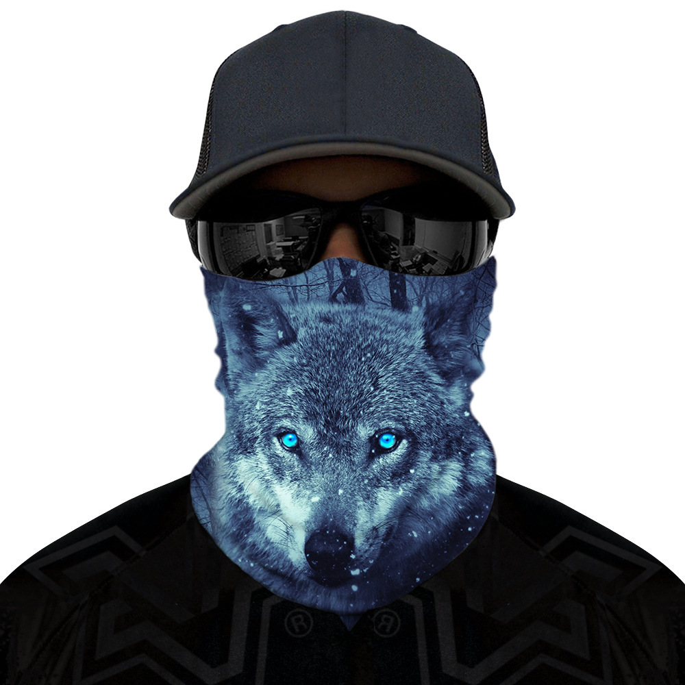 Scarf Sun Protective Mask Face Bandana Spots Wolf Mouth Face Mask Windproof Novelty Ring Scarf Cross-Border Outdoor