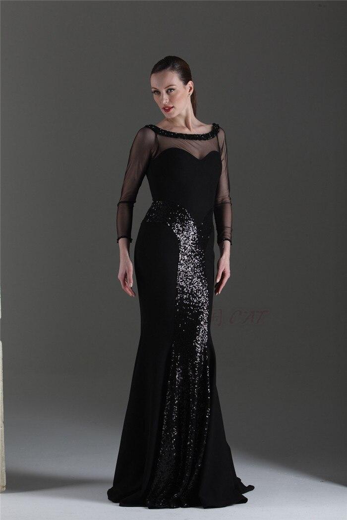 Free Shipping New Fashion Long Sleeve Party Gown Sequins Vestido De Renda Festa Robe De Soiree 2014 Sexy Black Evening Dress