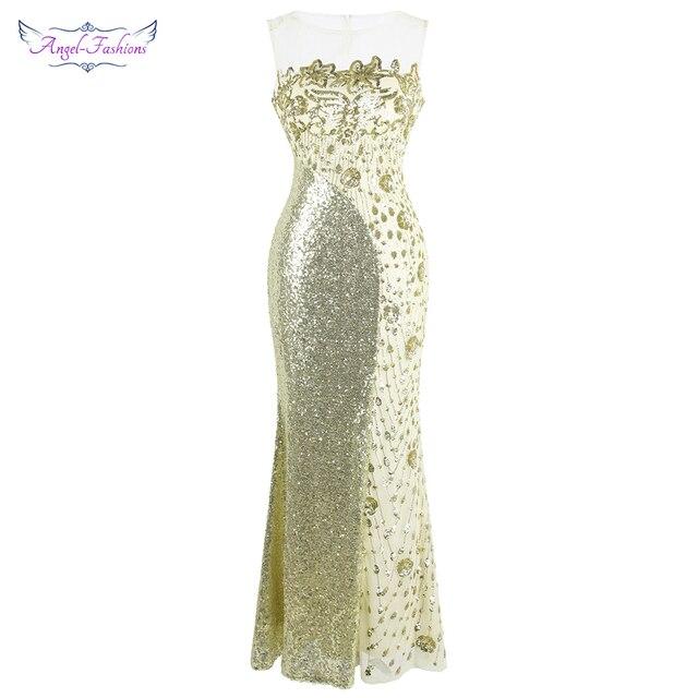 Robe de soirée forme sirène, robe de soirée, col rond, à la mode, robe de mariage, épissage, Champagne, 454
