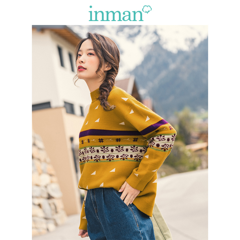 INMAN Winter Ribbing Collar Drop-shoulder Sleeve Jacquard Loose Women Pullover