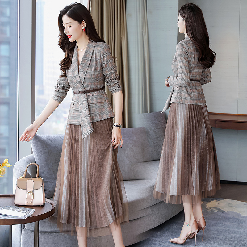 Office lady Net Skirt Suits set formall skirt office uniforms women skirt suit women skirt with suit Plaid blazer skirt set
