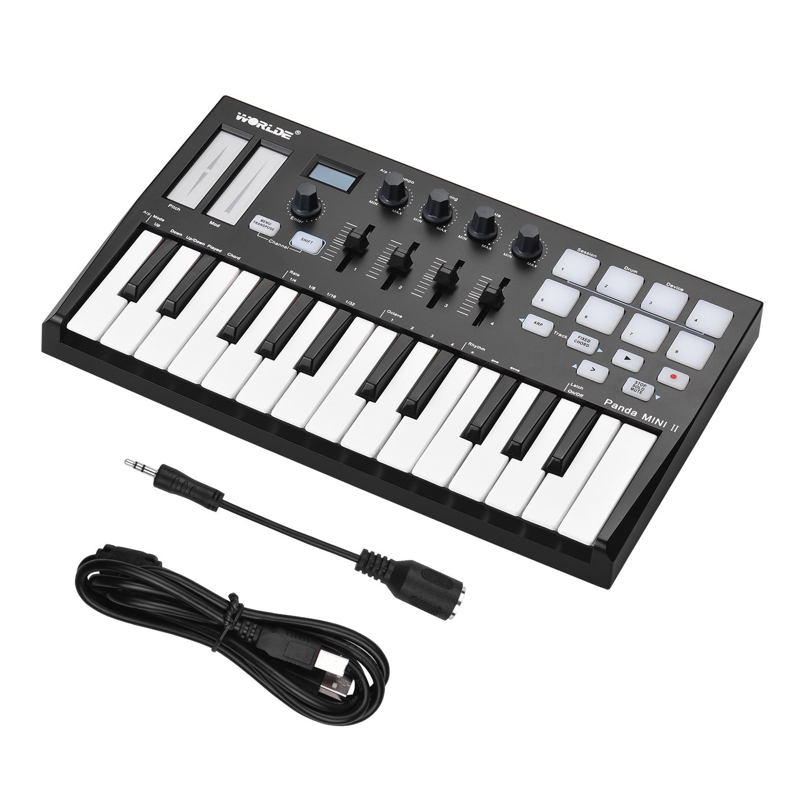 WORLDE Panda MINI II Portable 25-Key USB MIDI Keyboard Controller with 8 RGB Backlit Trigger Pads 4 Control Knobs 4 Sliders