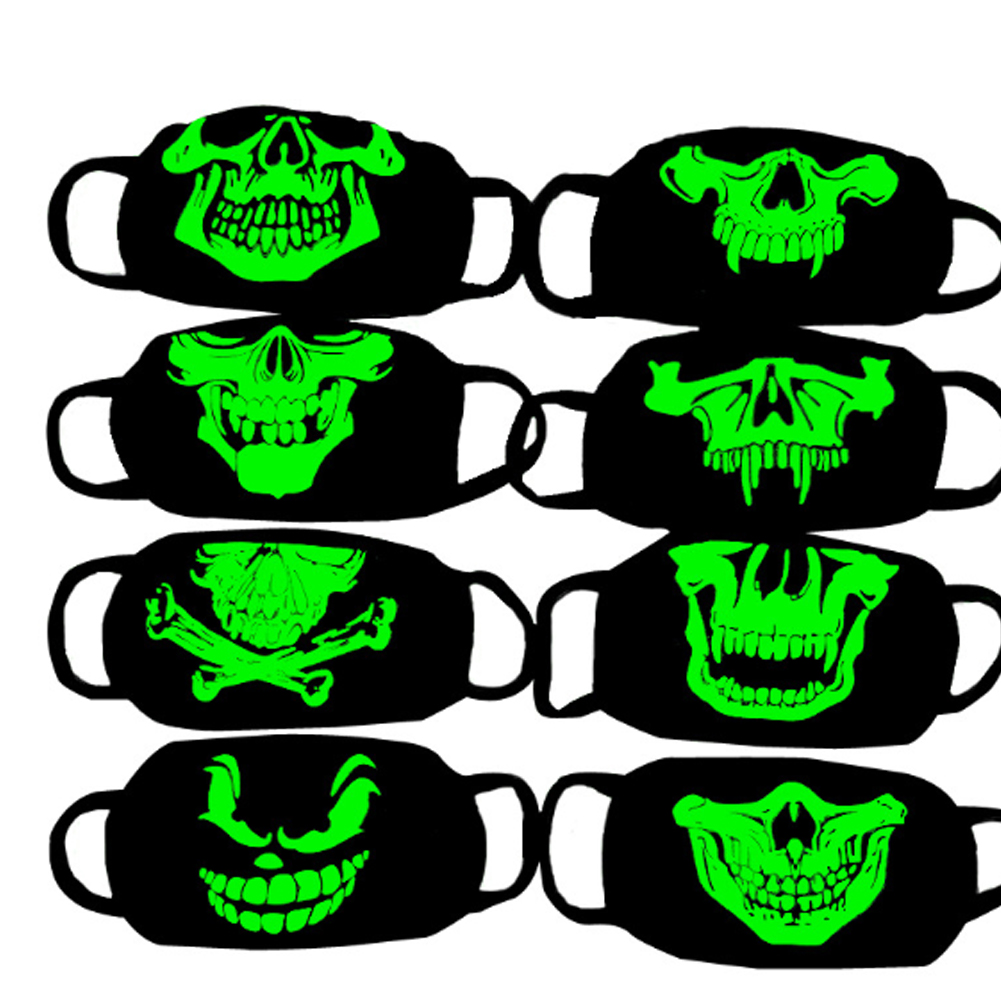 Personality Teeth Fluorescent Luminous Anti-Dust Mask Tide Men And Women Creative Warm Breathable Black Cotton Lovers Mouth Mask