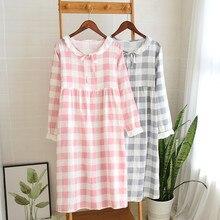 女性の新二重層ガーゼ寝間着春長袖シンプルなチェック柄ネグリジェプラスサイズパジャマ綿睡眠ドレス