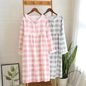 Image 1 - Womens New Double Layer Gauze Nightdress Spring Long Sleeve Simple Plaid Nightgown Plus Size Sleepwear Cotton Sleeping Dress