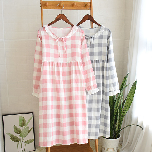 Womens New Double Layer Gauze Nightdress Spring Long Sleeve Simple Plaid Nightgown Plus Size Sleepwear Cotton Sleeping Dress