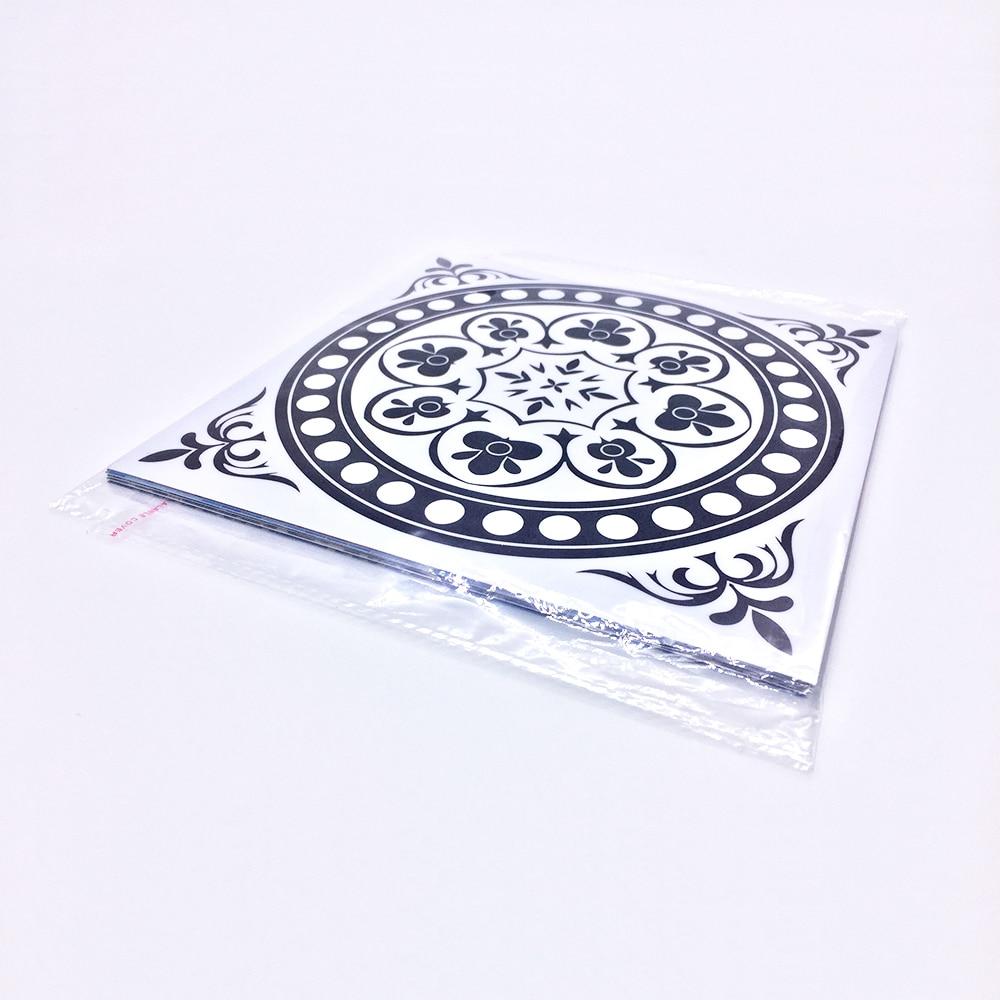 Купить с кэшбэком Funlife CUSTOM10/15/20/25/30cm Black&White Tile sticker Wall Decals Home Decoration Waterproof Wallpaper pack of 10