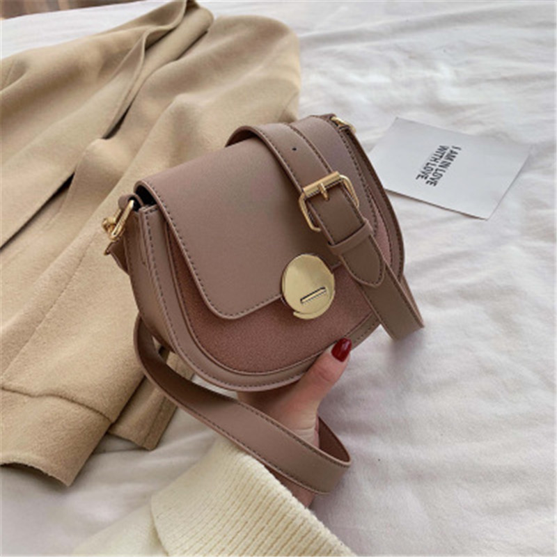 Solid Pattern PU Leather Women Saddle Bags For Women 2020 Simple Shoulder Messenger Bag Ladies Crossbody Purses And Handbags