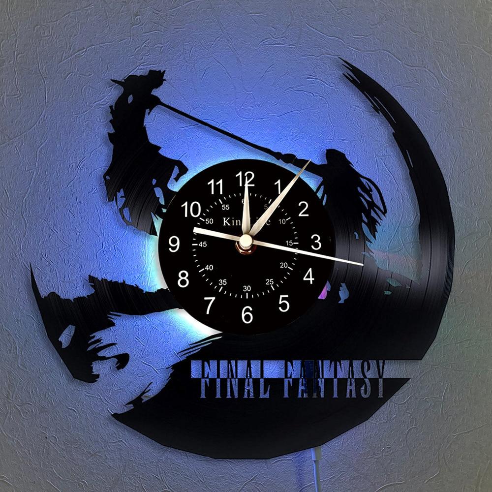 Final Fantasy Vinyl Record Wall Clock LED Quartz Clock   Home Decor Clock Unique Cartoon Gift 7 Color Luminous Wall Clock.