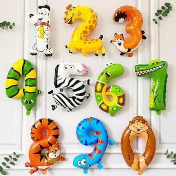 16 Cal motyw zwierząt balon 0-9 dżungla impreza w stylu Safari balon w kształcie cyfry urodziny strona główna dekoracja tanie i dobre opinie CN (pochodzenie) Zwierzę kreskówkowe Taśmy Numer FOLIA ALUMINIOWA przyjęcie urodzinowe Na Dzień Dziecka Dzień Ziemi