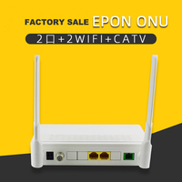Factory sale EPON ONU 2Port+CATV+WIFI, 1*10/100M, 1*10/100/1000M Data video monitoring optical fiber terminal equipment