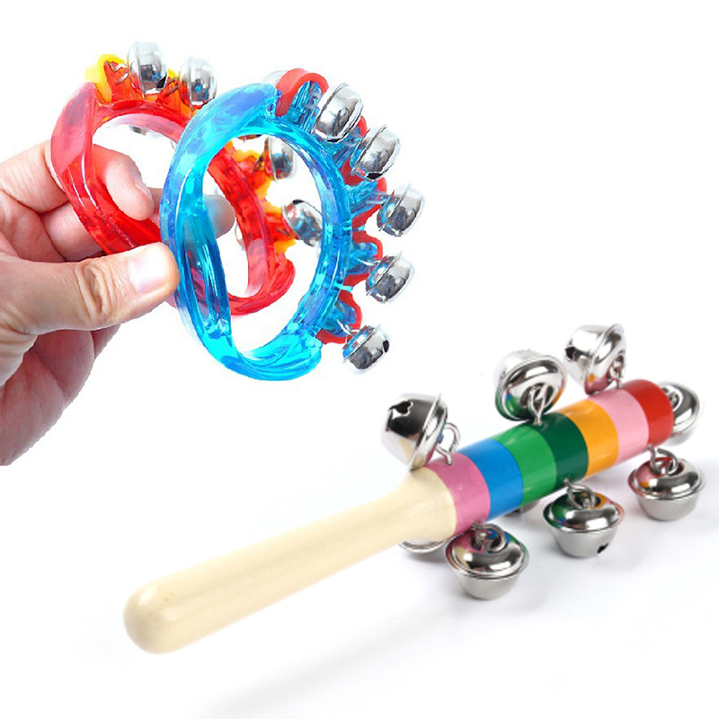 Rainbow Jingle Bell Rattles For Babies Baby Infant Toddler Wooden Plastic Musical Toys 13 24 Months