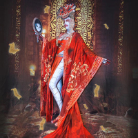 New Halloween Party Performance Costumes For Women Nightclub Bar Rave Party Stage Clothing Red Ghost Bride Cosplay Suit DQL2706