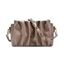 Women Underarm Shoulder Bag Pleated Baguette Pouch Totes Handbag Lady Casual Pu Clutch Folds Messenger Crossbody Bags