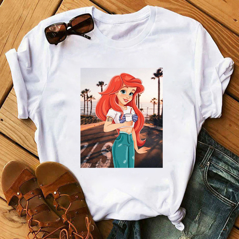 Maycaur Cute Princess Drink Coffee Femme T Shirts Kawaii Women Clothes Harajuku Lovely T Shirts Korean Vogue Camiseta Mujer Tops