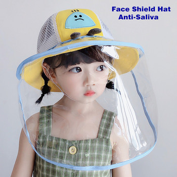 Summer Kids Bucket Hat Baby Protective Face Shield Cover Mask Hat Anti Saliva Dustproof Dual-use Mesh Breathable Sun Hat Cap