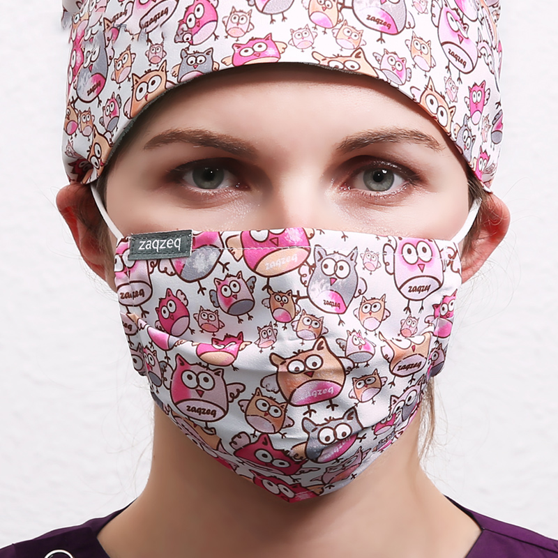 9 Colors Mouth Work Masks Masks Mask Quality For Women 95% Polyester 5% Spandex Fabric Dust Cartoon Print Masks