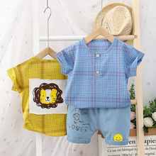 0-2y Baby Boy Clothing Summer Clothes Set For Boy Plaid Top Pants 2Pcs Kids Clothing Sets Baby Boy Outfits Newborns Clothing cheap COTTON Polyester Casual O-Neck Pullover Short REGULAR Fits true to size take your normal size Coat Baby Boys Y036 set baby boy