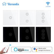 האיחוד האירופי/בריטניה חכם אור מגע מתג 1/2/3 כנופיית קיר מתג מגע/WiFi/קול /APP חכם בית בקר עובד עם Alexa/Google בית
