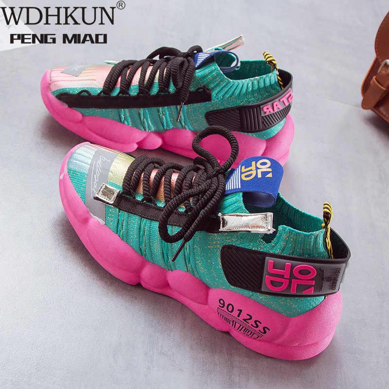 Giày Thời Trang Nữ Nền Tảng Giày Giày Casual Nữ 2020 Bay Lưới Thoáng Khí Dành Cho Nữ Màu Vàng Rổ Femme W569