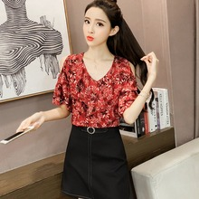 New Womens Tops And Blouses Women's Floral Print Camisas Mujer V-Neck Short Flare Sleeve Ruffles Cold Shoulder Chiffon Blouse