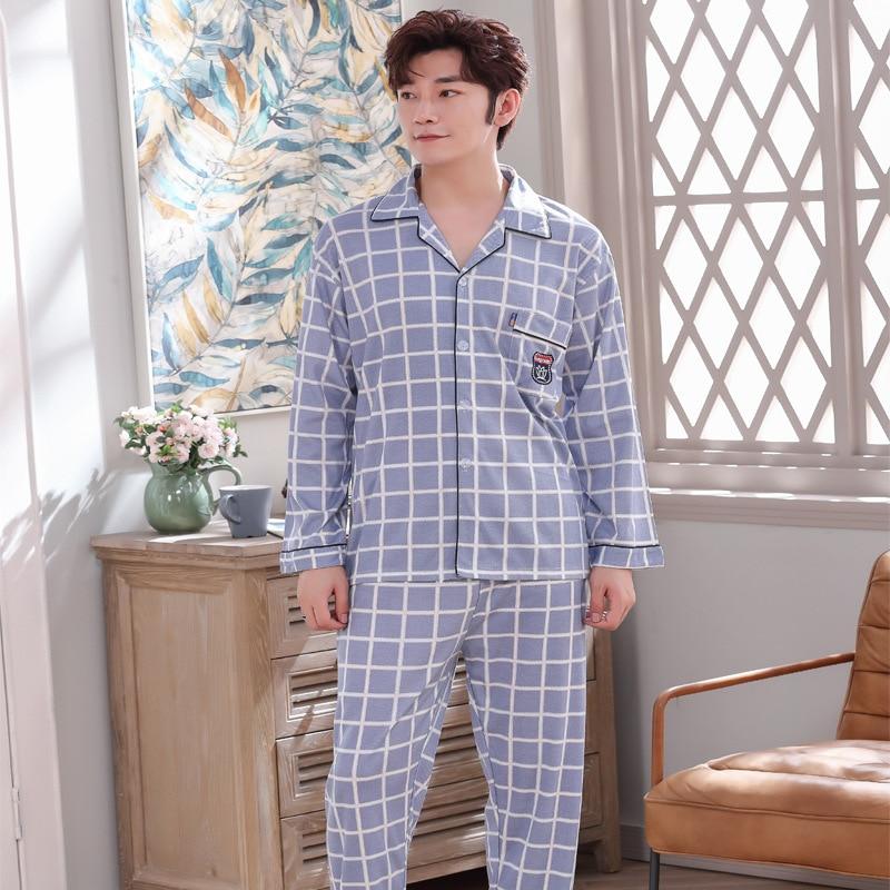 Men's Cotton Sleepwear Set Lounge Wear Men Sleep Shirt Trousers Plaid Pijama Hombre Invierno Winter Man Pajamas For Men