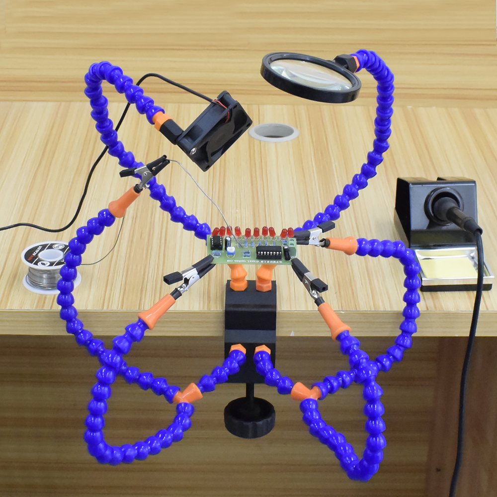 Soldering LED Station Tool Holder PCB Desk Helping 3X Magnifier Hand Clamp Soldering Kit Third Hand Magnifying Welding