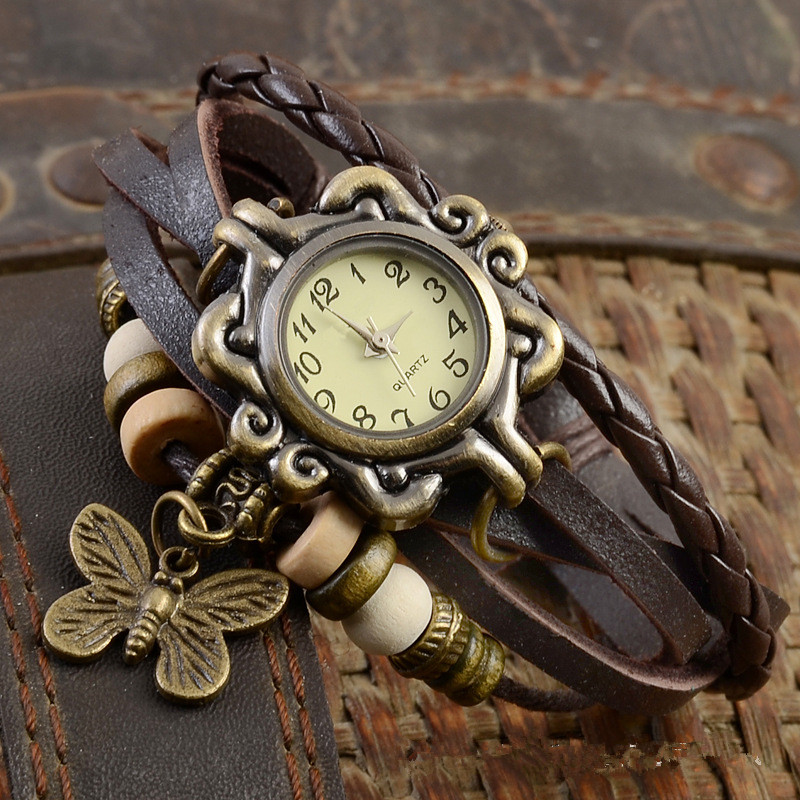 2019 Women Casual Vintage Multilayer Butterfly Faux Leather Bracelet Ladies Wrist Watch  Handmade Braided часы женские Reloj Muj
